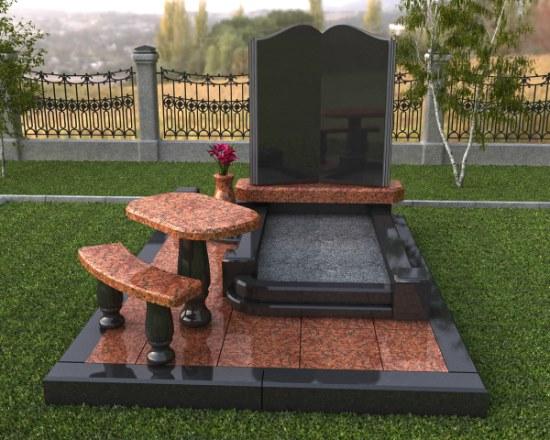 комбинированное надгробие из гранита и мрамора