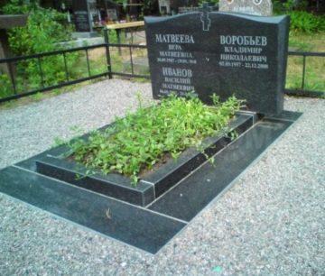оформление могилы подсыпкой из щебня