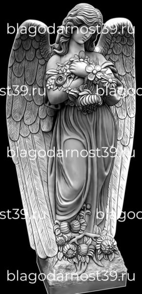 Гравировка: ангел с букетом