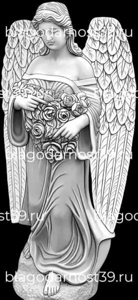 Гравировка: ангел с цветами (вариант 2)