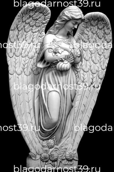 Гравировка: ангел с цветами