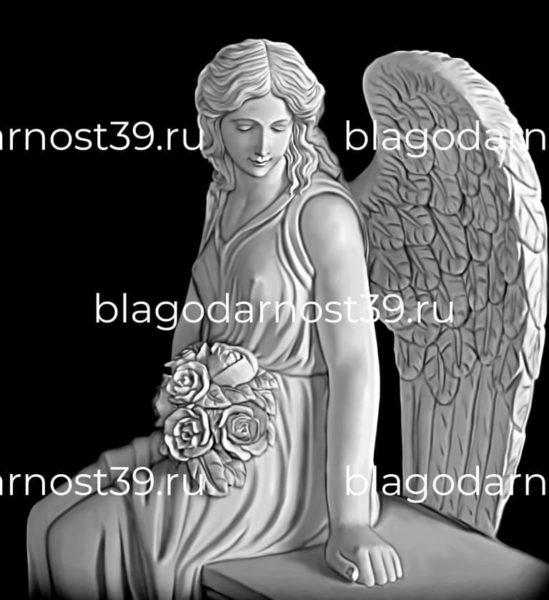 Гравировка: сидящий ангел с цветами