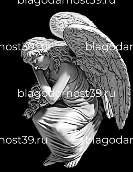 Гравировка: скорбящий ангел