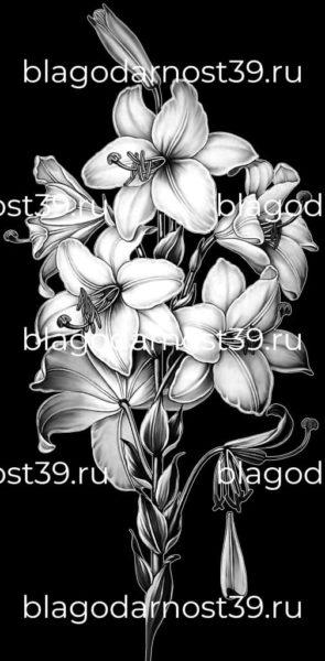 Гравировка: букет лилий