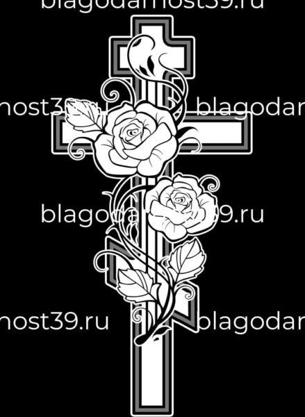 Гравировка: крест за двумя розами